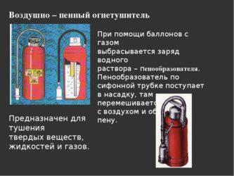 Воздушно пенные огнетушители где применяют?